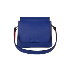Blue mediterranean Leather Shoulder Bag with Red Strap