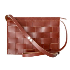 Leather Naver shoulder bag in Brick