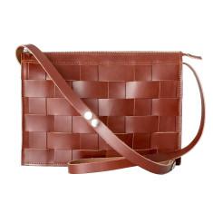 Leather Naver shoulder bag in Brick