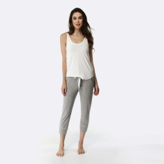 Manor Cropped Pant & Tank Set Grey Marle / Ivory
