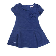 Girl's quilted dress in navy