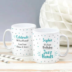 Personalised Birthday Jazz Hands Mug