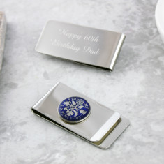 Sixpence 60th Enamel Coin Money Clip