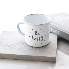 Be Happy Enamel Mug
