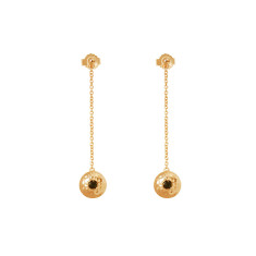 Grace Hanging Chain Disc Earrings in 18 KT Yellow Gold