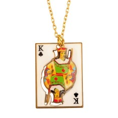 King of clubs card necklace