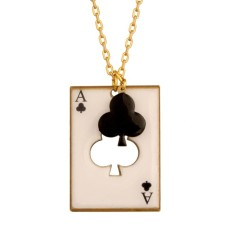 Ace of clubs card necklace