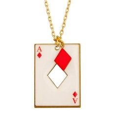 Ace of diamond card necklace