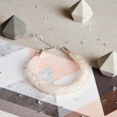 Shanghai Stars - Fatty Crystal Nude Mesh Bracelet