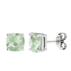 Green Amethyst Silver Checkerboard Stud Earrings