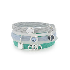 Hair ties with green & light blue (pack of 5)