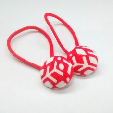 Red and white scandi geometric hair band (set of 2)