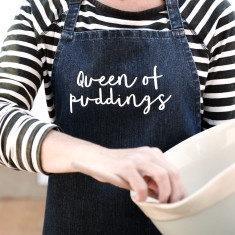 Queen of Pudding Denim Apron