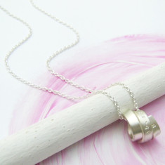 Personalised silver organic scroll pendant