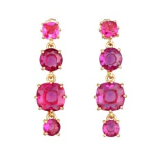 Fuchsia diamantine four stones earrings