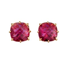 Fuchsia diamantine square single stone earrings