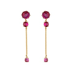 Fuchsia diamantine three stones and chain earrings