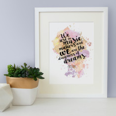 Arthur O'Shaughnessy we are the music makers quote watercolour print