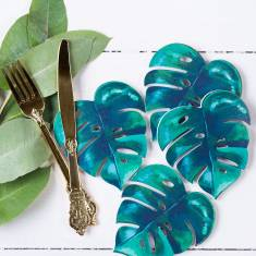 Four Botanical Palm Leaf Coasters