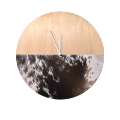Cowhide clock in black short hair (various patterns and sizes)