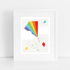 rainbow kite art print