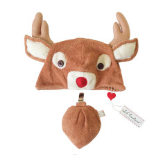Red-nosed reindeer hat & tail set for big kids & adults