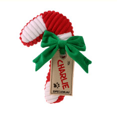 Personalised Christmas candy cane Dog toy