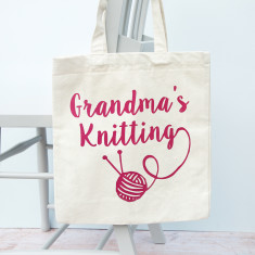 Personalised Canvas Knitting Bag