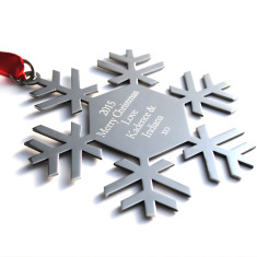 Personalised engraved snowflake Christmas decoration