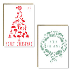 Christmas tree and wreath cards (set of 8)