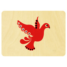 Scandi red dove Christmas postcard