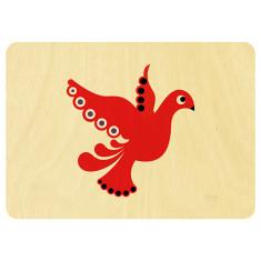 Scandi red dove Christmas postcard