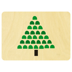 Wooden Christmas tree postcard