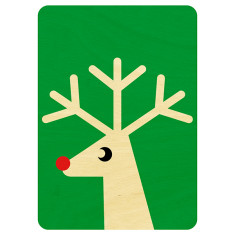 Wooden green reindeer Christmas postcard