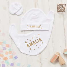 Personalised Scandi Stars Hat, Bib And Mitt Gift Set