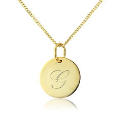 Gigi 9ct Gold Personalised Initial Disc Pendant