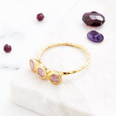 Fine 3 Stone Ring In Gold Plate With Pink Tourmaline