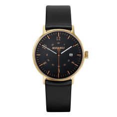 Gold 39mm watch with black leather band