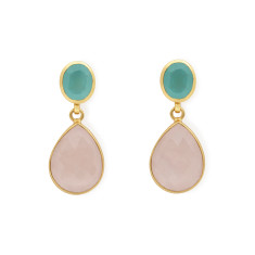 Aqua Calci and Rose Quartz Earrings