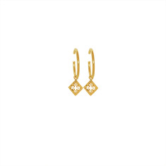 Medium Hoop Earrings with Pendants in 18 KT Gold Plate