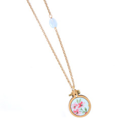Long petite embroidery hoop necklace in meadow