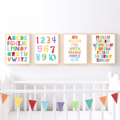 Educational nursery art set of prints