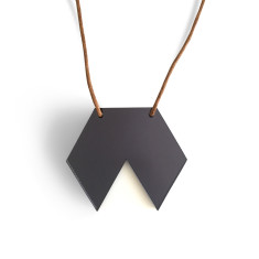 Geo hexagon necklace in mirror grey and white