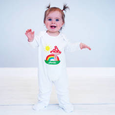 Personalised Toadstool And Sun Baby Onesie