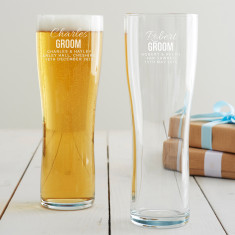 Personalised Groom Pint Glass