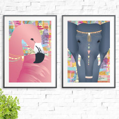 Sweet Dreams Flamingo & Elephant Print (2 Pack)