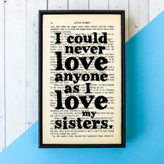 Sister Gift Little Women Quote - book page print