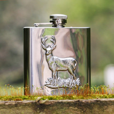 Personalised stainless steel stag hip flask