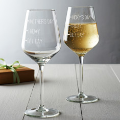 Diet Day, Friday, Mother's Day Wine Glass