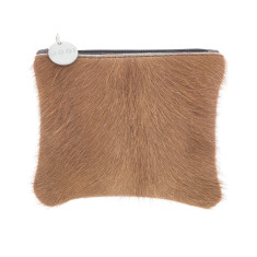 Kim Coin Purse in Brown Cowhide + Leather